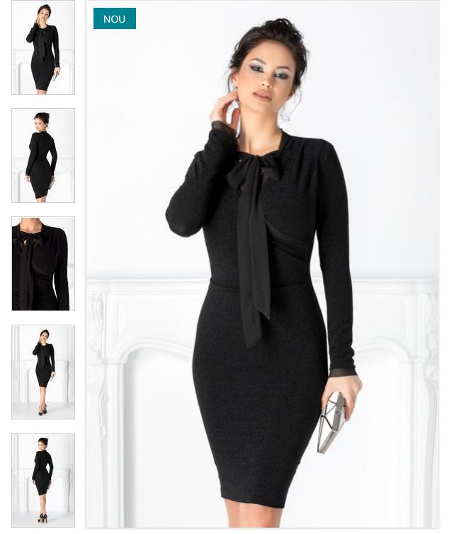 Rochie neagra eleganta de iarna cu maneci lungi model conica