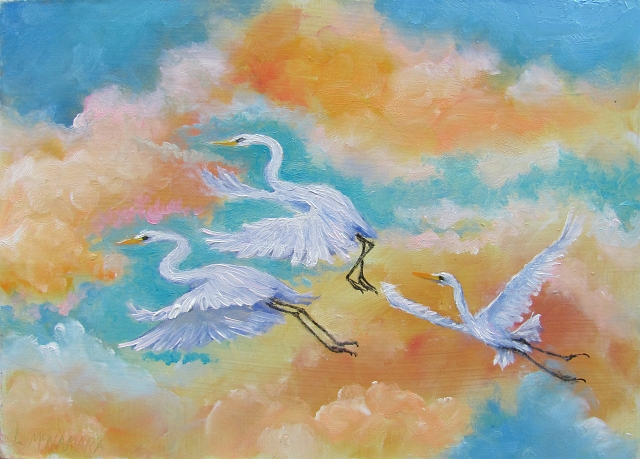 Lori S Stormy Art And Daily Paintings Daily Painting 1425 Morning Flight American Egret Painting
