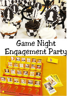 Throw a fun game night party for your favorite engaged couple or family and friends with these awesome Game Night Party Ideas. You'll find lots of DIY party decorations, ideas, food, and fun for a winning game night.  #gamenight #engagementparty #boardgameparty #boardgame #diypartymomblog