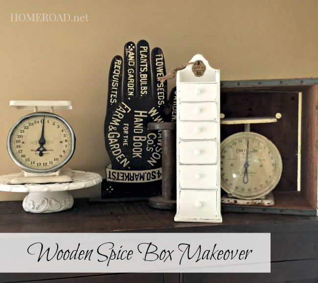 Wooden Spice Box Makeover www.homeroad.net