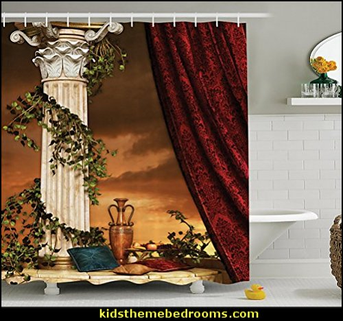 Greek Style Scene Climber Pillow Fruits Vine and Red Curtain Ancient Figure Sunset, Fabric Bathroom Decor