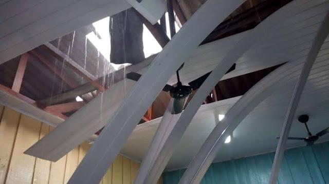 Temporal destrói telhado de escola Nova Dimensão