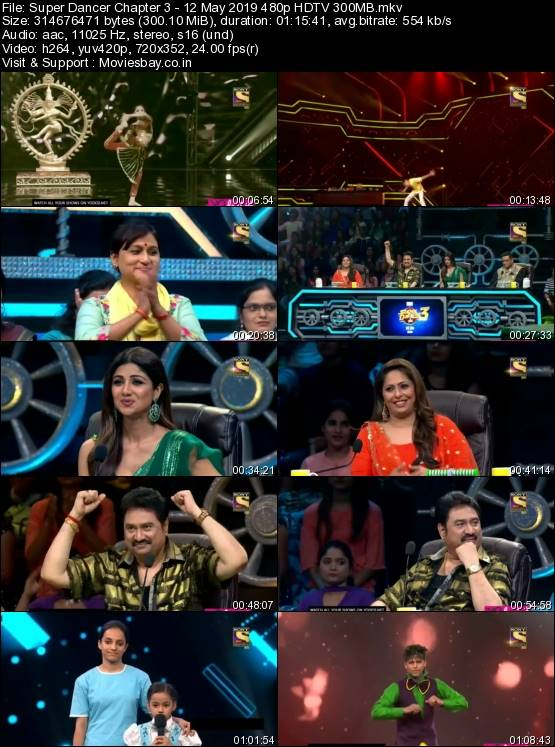 Screen Shoot of Super Dancer Chapter 3 – 12 May 2019 480p HDTV 300MB