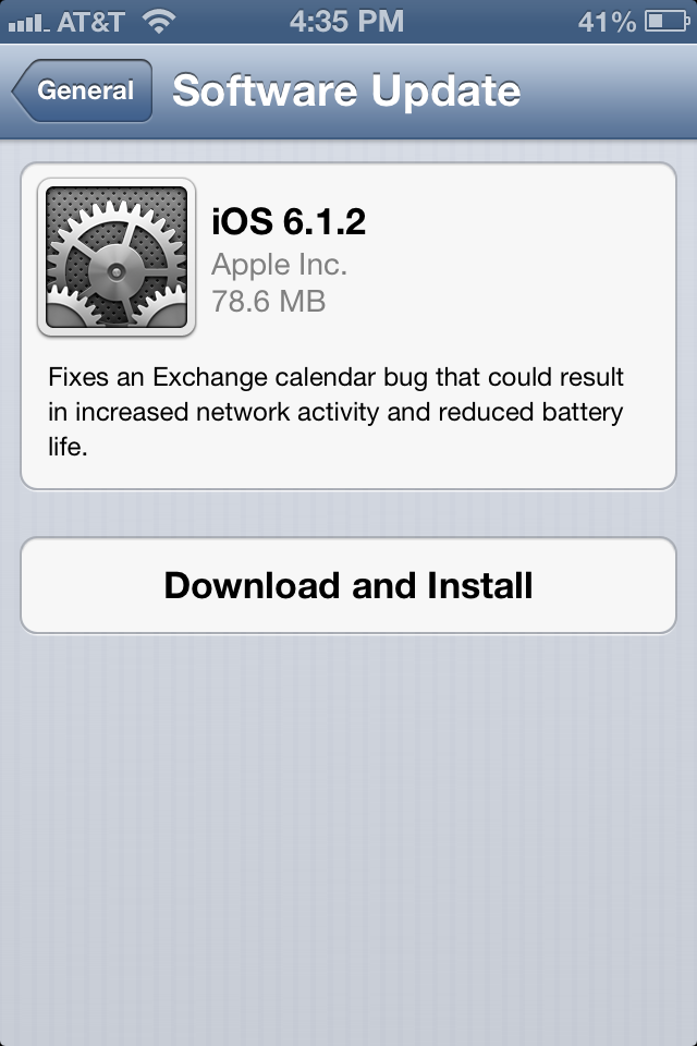 Apple iOS 6.1.2 update on iPhone