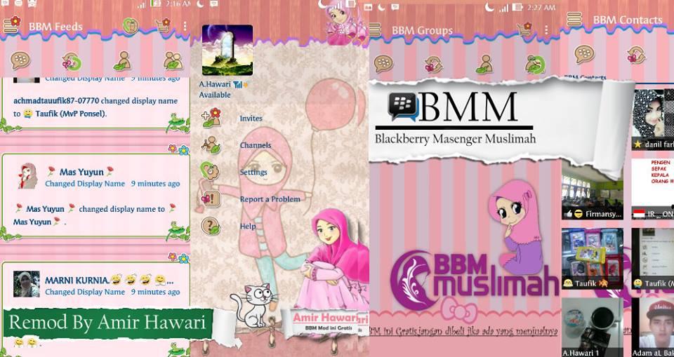 Tema BBM Terbaru : BBM MOD Muslimah versi 2.12.0.9 APK