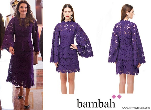 Queen Rania wore Bambah Purple Lace dress
