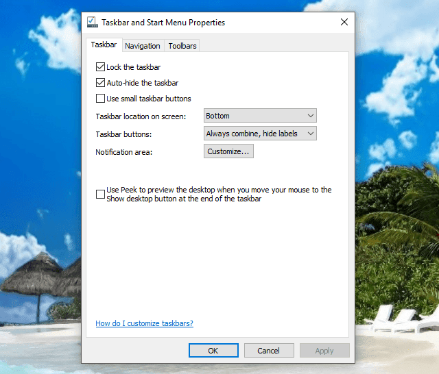 Cách ẩn taskbar trong windows