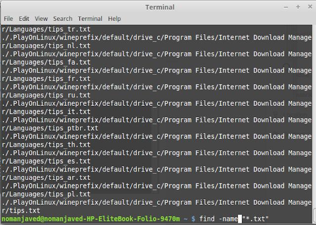 find command using Linux / Ubuntu Terminal