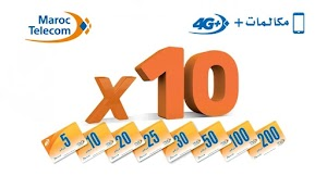 عرض التعبئة المضاعفة x10 اتصالات المغرب