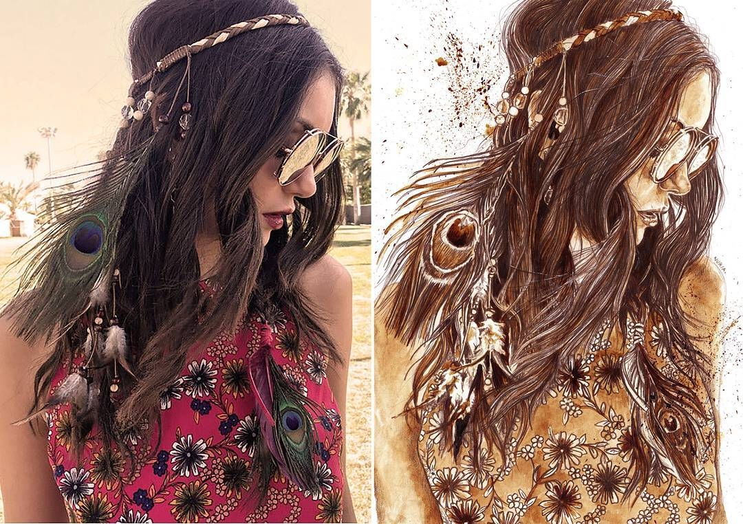 03-Nina-Dobrev-Nuria-Salcedo-nuriamarq-Celebrities-and-Animated-Movies-Painted-with-Coffee-and-Brown-Pencil-www-designstack-co