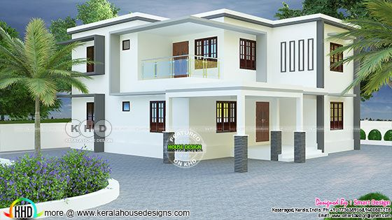 2466 sq-ft true flat roof house plan