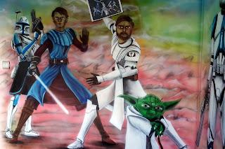 Malowanie obrazu na ścianie z gwiezdnych wojen, mural Gwiezdne wojny, malowanie grafitti