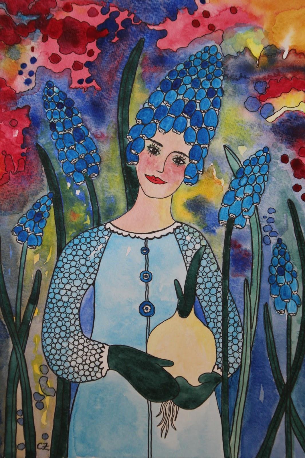 Pärlhyacint Muscari armeniacum Illustration:CarolinZander