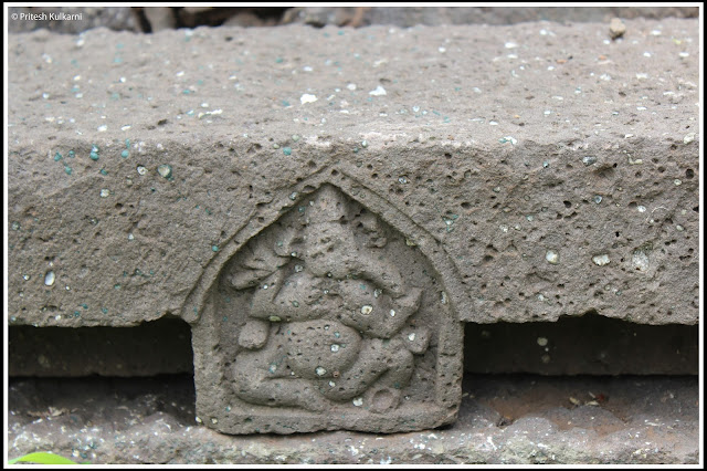 Ganesh carved on Stone at Narayangad Fort
