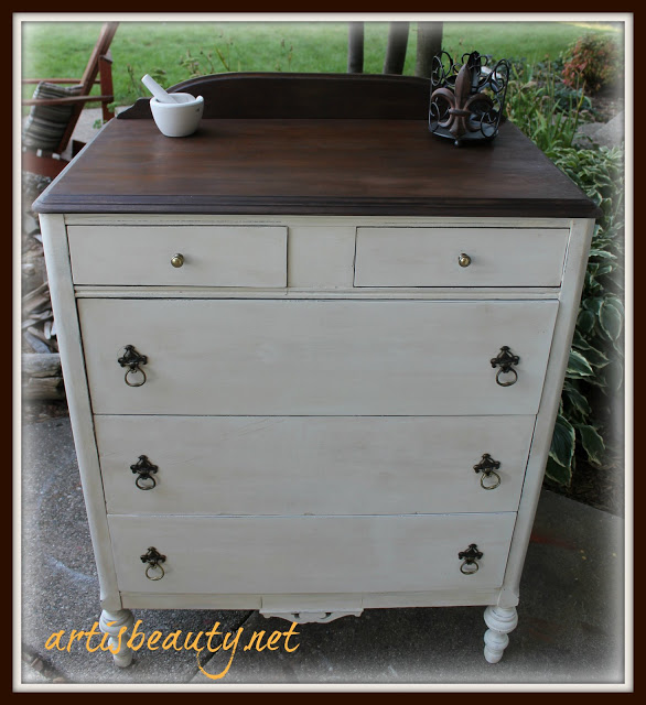 Vintage classic white dresser makeover with espresso stained top chalk mineral paint wax and distressed shabby chic farmhouse style
