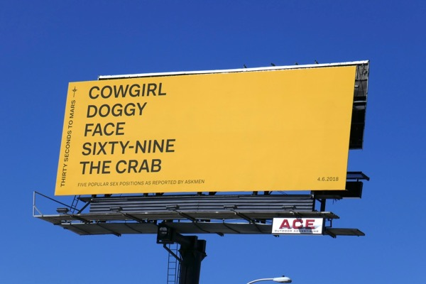 Thirty Seconds Mars Cowgirl Doggy 69 Crab billboard