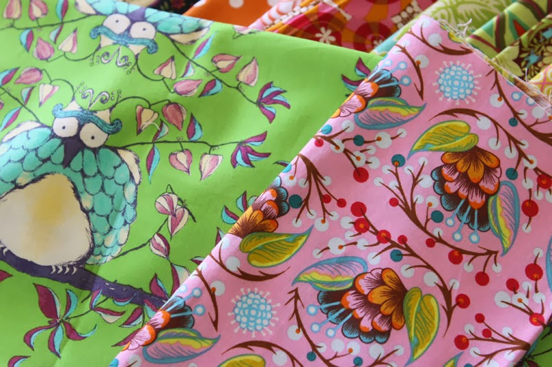 Pink and green fabrics