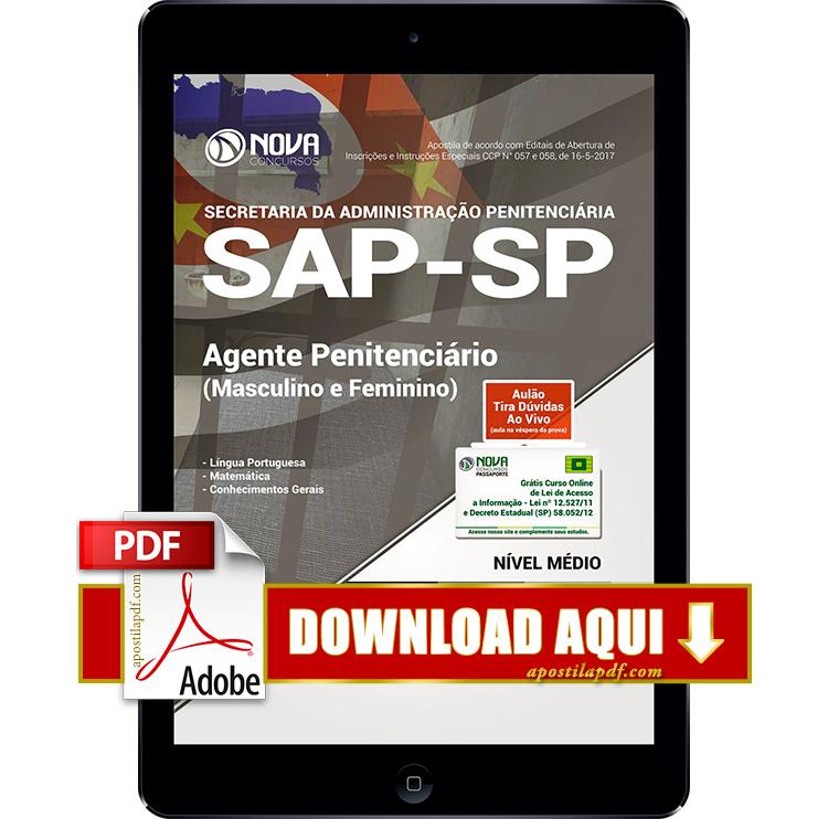 Apostila SAP SP 2017 PDF Download Agente Penitenciário