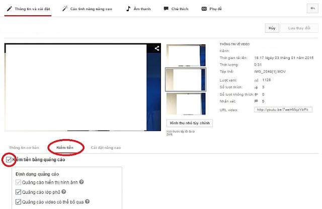 Bật kiếm tiền trên video youtube