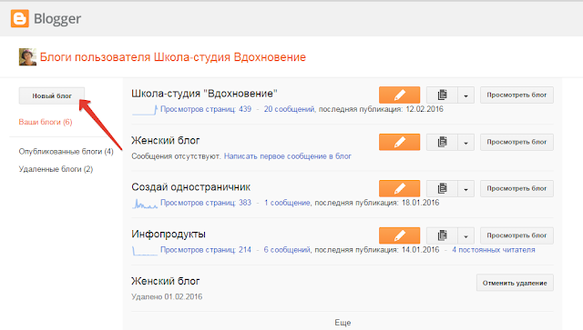 Создание блога на Blogger.com