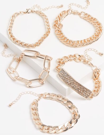 rue21 5-Pack Rose Gold Metallic Chain Bracelet Set