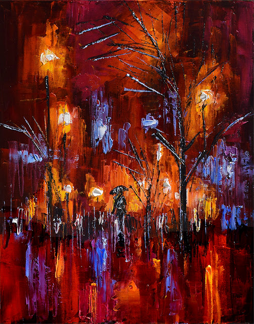 Abstract Rainy Night Street Scene Red Cityscape by Debra Hurd