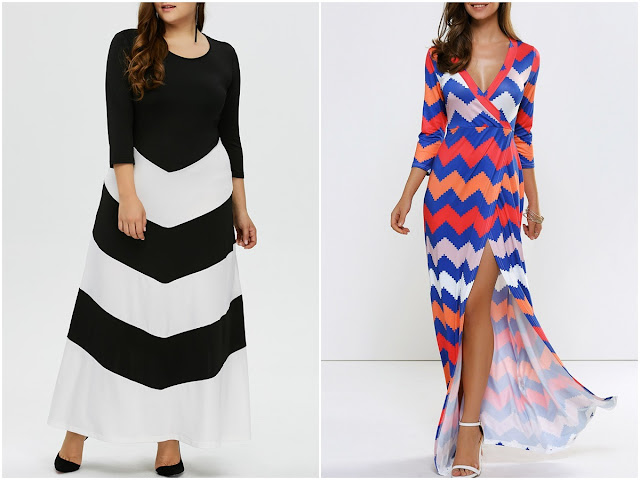 Onde comprar: Chevron Maxi Dress (Vestidos com estampa zigue-zague)