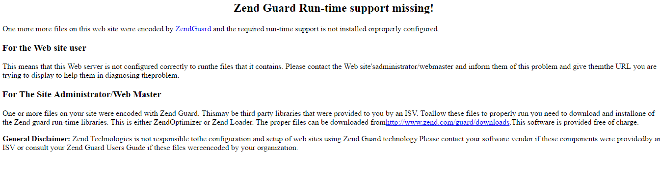 fix lỗi :Zend Guard Run-time support missing!