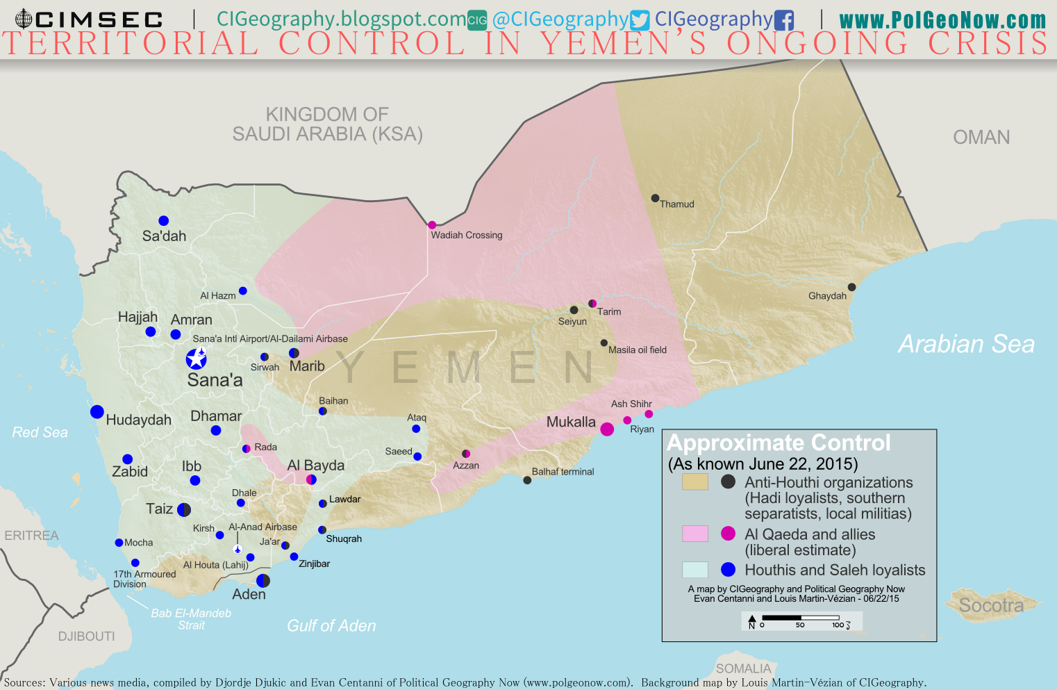 Map of territorial control in Yemen as of June 22, 2015, about two months into Saudi Arabia's military intervention, including territory held by the Houthi rebels and former president Saleh's forces, president-in-exile Hadi and the Southern Movement, and Al Qaeda in the Arabian Peninsula (AQAP).