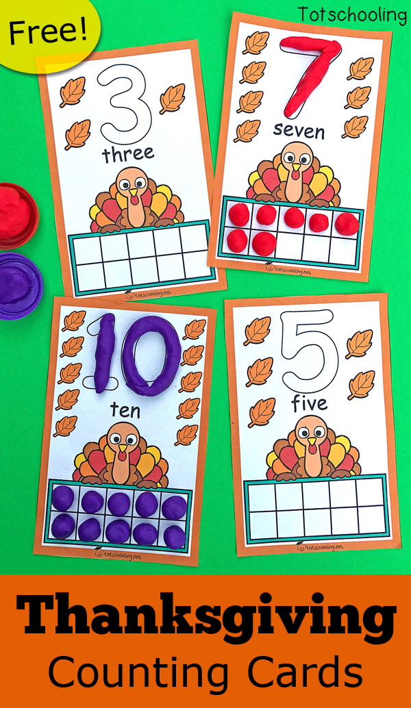 FREE printable Turkey themed counting cards to go with playdough, perfect for a Thanksgiving activity in preschool! Get preschoolers to practice counting, ten frames and number recognition with this fun playdough activity!