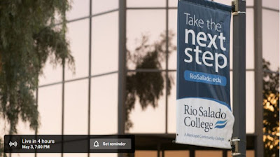 Screenshot of youtube video with text: Live in 4 hours. May 3, 7:00 PM Set reminder. Take the next step riosalado.edu Rio Salado College logo and banner
