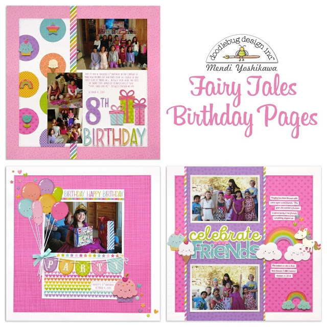Doodlebug Design Fairy Tales Birthday Scrapbook Pages for Girls by Mendi Yoshikawa