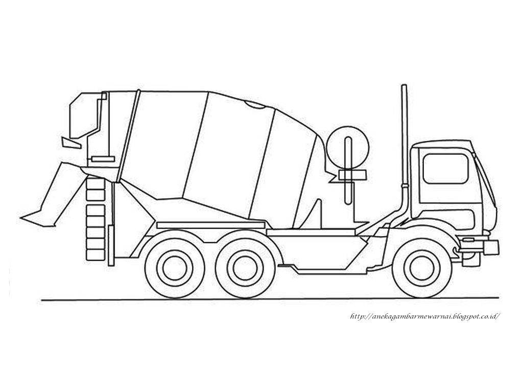 Gambar Mewarnai Mobil Molen Untuk Anak PAUD dan TK 3