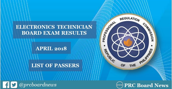 OFFICIAL RESULTS: April 2018 ECT board exam list of passers