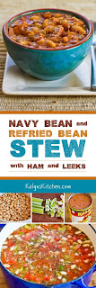 Navy Bean and Refried Bean Stew with Ham, Leeks, and Tomatoes found on KalynsKitchen.com
