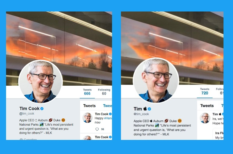 Tim Cook just is now Tim Apple on Twitter