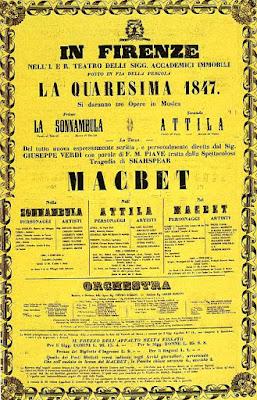Poster for the premiere of Verdi's Macbeth in 1847