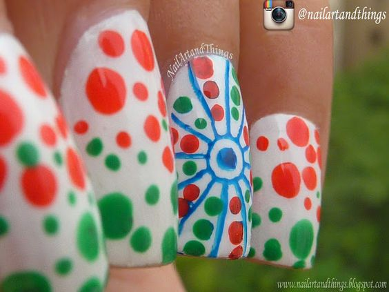10 indian independence day nail art ideas bling sparkle for a more fun nail art design paint your nails in white base and use a dotting tool to create saffron and green dots prinsesfo Gallery