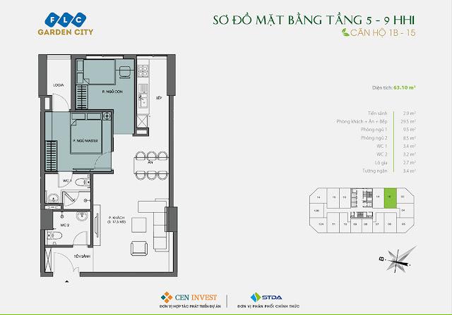 Thiết kế căn hộ 1B & 15