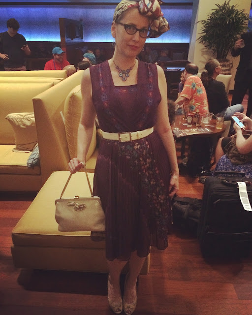 Gail Carriger in Vintage 1960s Purple Dress & Eyeball Necklace ~ Imprudence Tour Outfit & WorldCon