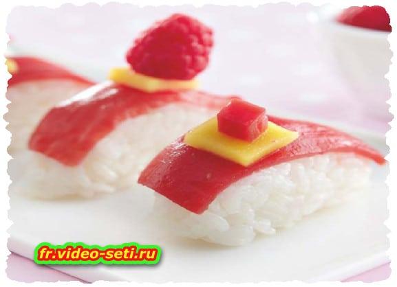 Sushis en gelée de framboise