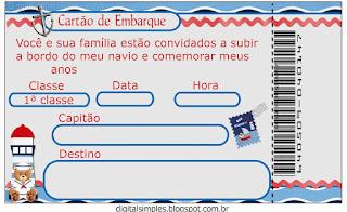 Para hacer Invitaciones, Tarjetas o Marcos para Imprimir Gratis de Osito Marinero.