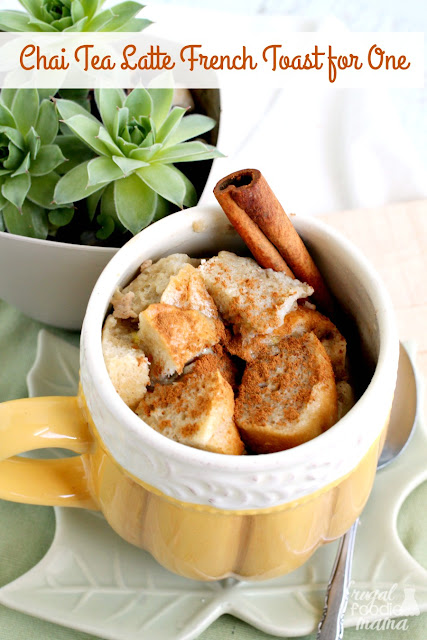This single serving Chai Tea Latte French Toast for One is sweet & spicy, yet comforting & creamy. A perfect breakfast idea for a crisp fall morning.