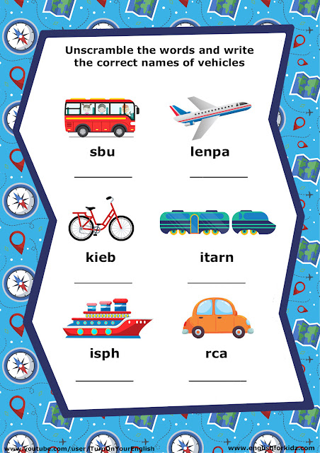 ESL transportation worksheet, unscramble words