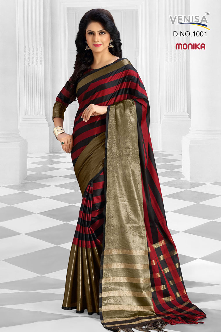 Monika – Mercerized Cotton Fabric Printed Saree Wholesale