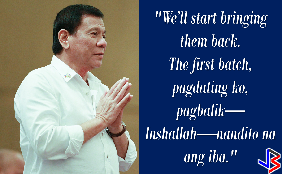 "President Rodrigo Roa Duterte left for the Middle East on Monday for a state visit in three Gulf Countries which includes Saudi Arabia, Bahrain and Qatar, with a promise that he will bring some of the OFWs who had been on death row in the said countries, except Qatar, where there are no recorded OFWs on death row. ""They've been given the clearance. I will fly them home. When I return, I'll be bringing some of them home, "" he said during a pre-departure press briefing in Davao City.  Records on OFWs on death row, according to  Foreign Affairs Assistant Secretary Hjayceelyn Quintana, is only 31 in Saudi Arabia and one in Bahrain.   The President will be visiting Saudi Arabia on April 10 -12,  Qatar on April 14-16 and Bahrain on April 12-14. The different OFW communities in the said countries are excitedly preparing for the President's visit to their host country. Preparations are underway and the Filcom leaders are organizing the venue and the crowd prior to the much awaited visit of President Duterte.   During last week's briefing DFA Assistant Secretary Quintana, said that cases of the OFWs in risk of execution are relatively complex and  different in levels and that the Office of the Undersecretary for Migrant Workers Affairs are studying each case to determine which one's are ready for clemency or pardon.   The Office of the President have been informed  about the cases of the OFWs on death row, according to Quintana. However the DFA official explained that it would depend on what the victims and the family to decide depending on what is being stated in the Sharia Law. The Middle east is largely a follower of the Islamic faith where Sharia Law is strictly followed. Source: GMA,     Recommended: ""We would like to find out exactly how many OFWs have been convicted or undergoing trial, the nature of their cases, the penalty they are facing, what can be done to help them,"" Quezon City Representative Winnie Castelo  said. Castelo called for complete inventory of the OFWs facing jail term and their corresponding court cases in their host country from OWWA and DFA so that the House of Representatives can draft a comprehensive legal assistance program to prevent future executions.         On the case of Jakatia Pawa, Castelo claimed the DFA was informed of Pawa's fate only on January 24, a day before her execution, saying the DFA and OWWA would have saved the life of Pawa if they were informed earlier.   ""If the DFA and OWWA had been on their toes, the notice would not have come too late,"" he said.  Castelo said that these two agencies should have a different plan and approach to address various cases OFWs are facing. He also asked OWWA and the DFA to present their ongoing program, if any, that aims to prevent OFWs from being involved on criminal acts or being victimized  by abuse of their employer that may have pushed them to  commit crimes.      The Congressman even said that The two agencies may tell the Congress if they lack or short of funds so that the House can make the appropriation for a legal defense fund for OFWs. ""We would like to find out exactly how many OFWs have been convicted or undergoing trial, the nature of their cases, the penalty they are facing, what can be done to help them,"" Quezon City Representative Winnie Castelo  said.Castelo called for complete inventory of the OFWs facing jail term and their corresponding court cases in their host country from OWWA and DFA so that the House of Representatives can draft a comprehensive legal assistance program to prevent future executions. President Rodrigo Duterte's compassion to the OFW sector is evident in his actions that's why OFWs around the globe love him. From the creation of OFW one-stop-shop to dissolution of tanim-bala and bukas-balikbayan box, he even told the OFWs to slap anyone who may attempt to extort money from them at the NAIA.   The President even told the OFWs that he wants that the OFW diaspora will end in this generation and come home to the Philippines for good. He never fail to address OFW concerns whenever he visit a country and with government programs for the OFWs, the sector that has been neglected by the previous administration has found their president, indeed.   President Duterte  will be visiting the United Arab Emirates and Saudi Arabia soon and here are the reasons why:  1. To express gratitude to the overseas Filipinos for their support. During the last presidential election, the OFWs and their families supported the then Davao Mayor Duterte with the largest OAV turnout in the last 10 years. In UAE alone, Duterte got 51,879 or 83.5 % of the total 62,103 actual votes cast. Duterte got 58% of the total votes in Jeddah, Saudi Arabia and 64% total votes in Riyadh. According to the data released by Commission on Elections (Comelec) Commissioner Rowena Guanzon, Duterte got the most number of votes with 313,346 total votes from OFWs abroad.   2.Listen to OFW concerns.  ""The trip is not something for other reasons. We are coming here to address specific problems. He could not himself fully understand why Filipinos would much rather want to remain here. He would like to make sure that he fully understands this,"" DFA Secretary Perfecto Yasay Jr. said.  ""He will not only go to Saudi or UAE and go back home. No, he will stay here for a few days, talk to the leaders and see what kinds of agreement can be signed,"" he added.  The OFWS are close to the heart of the President  because he understand them, like a father knows and understand his children.     3. For bilateral agreements that will benefit the OFWs.   According to Sec. Yasay,senior Philippine officials ""are now engaging our counterparts in these countries for the purpose of entering into agreements to strengthen our bilateral agreements"" prior to President Duterte's trip.  4. To formulate policies for the benefit of our modern heroes--the OFWs.    Among President Duterte's flagship programs for OFWs are the creation of a separate department for OFWs, the creation of an OFW bank and the abolition of the Overseas Employment Certificate (OEC).  The Middle East-specific policies will be implemented based on the president's assessment on his visit to the region.   5. To sustain Philippines' economic growth by forging trade ties with the Middle east counterparts and generate jobs back home. ""It is the hope of President Duterte that before his six year term is over, those who apply for jobs abroad will simply be doing so on the basis of choice rather than forced to do so,"" Yasay said.  6. To address the largest OFW community in Saudi Arabia. Currently, there are 872,000 OFWs in Saudi and half of this population is in Riyadh. The other half is spread across the eastern and western regions.  7. Biggest OFW remittances next to USA is coming from Saudi, Arabia.  Without a doubt, OFW remittances make the Philippine economy afloat. The OFWs send remittances to their family back home  which their family are spending in malls, restaurants, and others which keeps the economy alive.  8. Saudi Arabia is the biggest potential trade partner from Arab region. In terms of trade, Saudi Arabia was among the top 10 partners of the Philippines in 2012. One of the key agendas on Duterte's visit is to initiate talks with Saudi for bilateral collaborations in a number of sectors like agriculture, travel and tourism, culture, labour, trade and investment.   9.The largest number of OFWs in distress are in the Middle East particularly in Saudi Arabia.   Thousands of  distressed OFW are in Saudi Arabia, some of them are already been repatriated through the effort of the Duterte Administration and has been given assistance by OWWA and DOLE and through the programs of other government agencies like TESDA.  10. Saudi arabia and the UAE was last visited by the Philippine Pres on 2009. The last visit made by a Philippine President  to Saudi Arabia  was during  former Pres. Gloria Macapagal Arroyo's visit in 2009. The president who succeeded her never visited the middle east in his entire term.  President Rodrigo Duterte is set to visit the Middle East on February to talk and listen to the OFWs personally and to give hope to them that he will fix the country, generate more jobs and business opportunities, and make it peaceful for them to come home for good. President Rodrigo Duterte's compassion to the OFW sector is evident in his actions that's why OFWs around the globe love him.From the creation of OFW one-stop-shop to dissolution of tanim-bala and bukas-balikbayan box, he even told the OFWs to slap anyone who may attempt to extort money from them at the NAIA. The President even told the OFWs that he wants that the OFW diaspora will end in this generation and come home to the Philippines for good. He never fail to address OFW concerns whenever he visit a country and with government programs for the OFWs, the sector that has been neglected by the previous administration has found their president, indeed.    Whether you are planning to start a small business, purchase a new car or raising funds to  buy a new house or do a major house renovation, it may not take forever to raise it just from the savings you get from your salary. Many people resort to availing  loans from banks, financing companies or even a close friend.  To avail a loan, you can always apply anywhere but there will be no guarantee that your loan application will be approved instantly. Why do loan applications are declined?  There are various reasons  why loan applications are being disapproved.   Here are the 10 main reasons that might cause your loan application  to be declined:     Failure to submit pre-qualifying requirements. In applying for any loans, you need to provide the needed requirements. Failure to do so can surely compromise the transaction and may lead to disapproval of your loan application.    Not resolving bad credit.  Bad credits reflects bad paying habits. Nobody will ever lend any amount without the assurance that you will be able to pay it on time.    Not doing enough research.   Doing a research about the company background and some information about people who already had their loan approved in a certain financing companies may help you get a positive result.    Error in credit report. Not declaring or not disclosing about your credit history may lead to denial of loan. The finance companies has a wide network and they are using every bit of information to check if you are really worth they trust. If you fail to provide the information they needed, your loan application could be declined.    Thinness of credit file. Good credit records can be useful in dealing with loan applications. The more good credit transactions you have, the  better. It will speak for you and get the loan you wish if you have enough good transactions from various credit or loan company.    Having too much debt. One thing lenders look at when they're reviewing loan applications is your debt-to-income ratio. If your monthly salary could not balance well with your debts, you are most likely to be declined of your loan application.  OFWs who are availing loans can be disapproved due to the following reasons:         In order to have a successful loan application, you need to consider the above-mentioned points to make sure that you would get the approval for your loan. Sources: Smart Asset, Loan Solutions  OFWs, contrary to the common notions, are not rich and they do not have a lot of money. Some OFWs even return home broke after several years of working overseas.  Financial literacy seminar and entrepreneurship trainings are being conducted for the OFWs to be aware of their financial status and  to do something to improve their lives by means of generating other sources of income aside from the salary they are getting from the job they currently have while working abroad. Some OFWs plan of putting up a business or venture out in investment opportunities like real estate, stocks, and any other possible means to get them ready for their return in the Philippines for good.  A wife of an OFW asked OWWA about what sort of  business she can start as a spouse of an OFW who is an active member. Samantha Natividad  said that her husband is an OFW for a long time and she wants to start a business to help her husband as their children are growing up as well as their expenses. As a helpful information for other OFW spouses  who also want to help  their OFW partners, we made this info graphics regarding this topic.  Does OWWA have an existing program for OFWs who want to start their own business? Yes. The Overseas Workers Welfare Administration (OWWA) has  two existing programs under the reintegration program  for those who want to start their own business.  What are those? In the first program, OWWA can give a 'grant' for OFW spouses who want to start even a small scale business. How much is the amount of funds OWWA can provide under this program? The fund that can be granted under this program depends on what kind of business they want to start. However, the maximum amount is only P20,000.   What is the other program? The other program is called a 'special loan program'. this loan program is through partnership with the Development Bank of the Philippines (DBP) and the Land Bank of the Philippines.  How much can an OFW spouse can avail on this program? OFWs and their spouses can avail a loan amounting from P300,000 up to P2,000,000.  How much should be the net income of an OFW to avail of this loan? For an OFW to avail of this loan, he/she must be earning a net monthly income of at least P10,000 to avail the loan amount of P3,000 up to P2 Million.    How much will be the interest rate? The loan will have an interest rate of 7.5% annually.  What will be the mode/frequency of payment? Depending on project's cash flow, the OFW can pay it on monthly, quarterly or annual basis.  Where  should the OFW wife/husband apply to avail these programs? They can apply at any OWWA Regional Welfare Office (ORW) nearest to them.  What are the eligibility requirements  for the  OFW to be qualified to avail? 1. The OFW must be an active OWWA member.  2. OFW husband/wife who want to avail must have completed the Entrepreneurial Development Training (EDT) conducted by NRCO and OWWA ORWsin cooperation with the Department of Trade and Industry/Philippine Trade Training Center (PTTC)/ Bureau of Micro, Small and Medium Enterprise Development (BSMED).  3. They must provide 20% equity.  4. The project or business must generate a net income of at least P10,000 for the OFW.  For details and information regarding these program, you can contact OWWA Regional Offices in your area.  *These information is based on the answer provided by OWWA Deputy Administrator Josefino Torres. Source: BanderaInquirer.net   Recommended:     2017 Top 10 IDEAS for OFWs to Invest  A Filipina based in Waikato, New Zealand has now been sentenced to 11 months and  2 weeks of house arrest after she was convicted for 284 immigration fraud charges involving her visa scam back in October 2015. A 180 hour community service also comes with the sentence. Loraine Anne Jayme, 35, a resident of Te Aroha, Waikato has a dual citizenship. For every OFW who wish to come to New Zealand, she charges $2,250 each. It took some time for the scam to be uncovered because Immigration New Zealand (INZ) didn't initially realise a large portion of the workers were processing their application through the alleged ringleader.   However, Immigration Minister Michael Woodhouse said that more than a thousand Filipinos who might have entered the country illegally  using fake visas could stay.  Mr. Woodland said that they could stay to avoid potential damage to the dairy industry and the rebuilding of Christchurch. There are 38,000  OFWs working on dairy farms in New Zealand and they are living with pretty good reputation with regards to their work ethics and they are worried about what it could mean to them.  ""We're law abiding people. We like to see the law of our land upheld and proper process done,"" Mr Lewis said.   ""So yeah, I have to give credit to Immigration New Zealand for doing it and hopefully they'll be back on deck next week processing them within their required rules,"" he added. The authorities are now auditing farms around the Waikato, Canterbury and Southland. Source: TVNZ, NewsHub, Inquirer RECOMMENDED:  The mother of a 12-year old girl who mysteriously died while on her father's care in Jeddah, Saudi Arabia sought the help of the Philippine government, particularly on the Presidential Action Center to help her forward the case to the DFA to allow the Philippine Consulate in Jeddah  to transmit the autopsy report conducted on her daughter.Bliss Mendoza, an OFW in Canada was working in Jeddah as a nurse together with her husband and daughter ""Tipay"" before she worked in Canada and left her daughter with her husband's care in Jeddah.     The OFWs are the reason why President Rodrigo Duterte is pushing through with the campaign on illegal drugs, acknowledging their hardships and sacrifices. He said that as he visit the countries where there are OFWs, he has heard sad stories about them: sexually abused Filipinas,domestic helpers being forced to work on a number of employers. ""I have been to many places. I have been to the Middle East. You know, the husband is working in one place, the wife in another country. The so many sad stories I hear about our women being raped, abused sexually,"" The President said. About Filipino domestic helpers, he said:  ""If you are working on a family and the employer's sibling doesn't have a helper, you will also work for them. And if in a compound,the son-in-law of the employer is also living in there, you will also work for him.So, they would finish their work on sunrise."" He even refer to the OFWs being similar to the African slaves because of the situation that they have been into for the sake of their families back home. Citing instances that some of them, out of deep despair, resorted to ending their own lives.  The President also said that he finds it heartbreaking to know that after all the sacrifices of the OFWs working abroad for the future of their families they would come home just to learn that their children has been into illegal drugs. ""I made no bones about my hatred. I said, 'If you do drugs in my city, if you destroy our daughters and sons, I'll just have to kill you.' I repeated the same warning when i became president,"" he said.   Critics of the so-called violent war on drugs under President Duterte's administration includes local and international human rights groups, linking the campaign on thousands of drug-related killings.  Police figures show that legitimate police operations have led to over 2,600 deaths of individuals involved in drugs since the war on drugs began. However, the war on drugs has been evident that the extent of drug menace should be taken seriously. The drug personalities includes high ranking officials and they thrive in the expense of our own children,if not being into drugs, being victimized by drug related crimes. The campaign on illegal drugs has somehow made a statement among the drug pushers and addicts. If the common citizen fear walking on the streets at night worrying about the drug addicts lurking in the dark, now they can walk peacefully while the drug addicts hide in fear that the police authorities might get them. Source:GMA {INSERT ALL PARAGRAPHS HERE {EMBED 3 FB PAGES POST FROM JBSOLIS/THOUGHTSKOTO/PEBA HERE OR INSERT 3 LINKS}   ©2017 THOUGHTSKOTO www.jbsolis.com SEARCH JBSOLIS The OFWs are the reason why President Rodrigo Duterte is pushing through with the campaign on illegal drugs, acknowledging their hardships and sacrifices.     ©2017 THOUGHTSKOTO www.jbsolis.com SEARCH JBSOLIS The mother of a 12-year old girl who mysteriously died while on her father's care in Jeddah, Saudi Arabia sought the help of the Philippine government, particularly on the Presidential Action Center to help her forward the case to the DFA to allow the Philippine Consulate in Jeddah  to transmit the autopsy report conducted on her daughter.Bliss Mendoza, an OFW in Canada was working in Jeddah as a nurse together with her husband and daughter ""Tipay"" before she worked in Canada and left her daughter with her husband's care in Jeddah.    The OFWs are the reason why President Rodrigo Duterte is pushing through with the campaign on illegal drugs, acknowledging their hardships and sacrifices. He said that as he visit the countries where there are OFWs, he has heard sad stories about them: sexually abused Filipinas,domestic helpers being forced to work on a number of employers. ""I have been to many places. I have been to the Middle East. You know, the husband is working in one place, the wife in another country. The so many sad stories I hear about our women being raped, abused sexually,"" The President said. About Filipino domestic helpers, he said:  ""If you are working on a family and the employer's sibling doesn't have a helper, you will also work for them. And if in a compound,the son-in-law of the employer is also living in there, you will also work for him.So, they would finish their work on sunrise."" He even refer to the OFWs being similar to the African slaves because of the situation that they have been into for the sake of their families back home. Citing instances that some of them, out of deep despair, resorted to ending their own lives.  The President also said that he finds it heartbreaking to know that after all the sacrifices of the OFWs working abroad for the future of their families they would come home just to learn that their children has been into illegal drugs. ""I made no bones about my hatred. I said, 'If you do drugs in my city, if you destroy our daughters and sons, I'll just have to kill you.' I repeated the same warning when i became president,"" he said.   Critics of the so-called violent war on drugs under President Duterte's administration includes local and international human rights groups, linking the campaign on thousands of drug-related killings.  Police figures show that legitimate police operations have led to over 2,600 deaths of individuals involved in drugs since the war on drugs began. However, the war on drugs has been evident that the extent of drug menace should be taken seriously. The drug personalities includes high ranking officials and they thrive in the expense of our own children,if not being into drugs, being victimized by drug related crimes. The campaign on illegal drugs has somehow made a statement among the drug pushers and addicts. If the common citizen fear walking on the streets at night worrying about the drug addicts lurking in the dark, now they can walk peacefully while the drug addicts hide in fear that the police authorities might get them. Source:GMA {INSERT ALL PARAGRAPHS HERE {EMBED 3 FB PAGES POST FROM JBSOLIS/THOUGHTSKOTO/PEBA HERE OR INSERT 3 LINKS}   ©2017 THOUGHTSKOTO www.jbsolis.com SEARCH JBSOLIS The OFWs are the reason why President Rodrigo Duterte is pushing through with the campaign on illegal drugs, acknowledging their hardships and sacrifices.     ©2017 THOUGHTSKOTO www.jbsolis.com SEARCH JBSOLIS A wife of an OFW asked OWWA about what sort of  business she can start as a spouse of an OFW who is an active member. Samantha Natividad  said that her husband is an OFW for a long time and she wants to start a business to help her husband as their children are growing up as well as their expenses.As a helpful information for other OFW spouses  who also want to help  their OFW partners, we made this info graphics regarding this topic. ©2017 THOUGHTSKOTO www.jbsolis.com SEARCH JBSOLIS  OFWs, contrary to the common notions, are not rich and they do not have a lot of money. Some OFWs even return home broke after several years of working overseas.  Financial literacy seminar and entrepreneurship trainings are being conducted for the OFWs to be aware of their financial status and  to do something to improve their lives by means of generating other sources of income aside from the salary they are getting from the job they currently have while working abroad. Some OFWs plan of putting up a business or venture out in investment opportunities like real estate, stocks, and any other possible means to get them ready for their return in the Philippines for good.  A wife of an OFW asked OWWA about what sort of  business she can start as a spouse of an OFW who is an active member. Samantha Natividad  said that her husband is an OFW for a long time and she wants to start a business to help her husband as their children are growing up as well as their expenses. As a helpful information for other OFW spouses  who also want to help  their OFW partners, we made this info graphics regarding this topic.  Does OWWA have an existing program for OFWs who want to start their own business? Yes. The Overseas Workers Welfare Administration (OWWA) has  two existing programs under the reintegration program  for those who want to start their own business.  What are those? In the first program, OWWA can give a 'grant' for OFW spouses who want to start even a small scale business. How much is the amount of funds OWWA can provide under this program? The fund that can be granted under this program depends on what kind of business they want to start. However, the maximum amount is only P20,000.   What is the other program? The other program is called a 'special loan program'. this loan program is through partnership with the Development Bank of the Philippines (DBP) and the Land Bank of the Philippines.  How much can an OFW spouse can avail on this program? OFWs and their spouses can avail a loan amounting from P300,000 up to P2,000,000.  How much should be the net income of an OFW to avail of this loan? For an OFW to avail of this loan, he/she must be earning a net monthly income of at least P10,000 to avail the loan amount of P3,000 up to P2 Million.    How much will be the interest rate? The loan will have an interest rate of 7.5% annually.  What will be the mode/frequency of payment? Depending on project's cash flow, the OFW can pay it on monthly, quarterly or annual basis.  Where  should the OFW wife/husband apply to avail these programs? They can apply at any OWWA Regional Welfare Office (ORW) nearest to them.  What are the eligibility requirements  for the  OFW to be qualified to avail? 1. The OFW must be an active OWWA member.  2. OFW husband/wife who want to avail must have completed the Entrepreneurial Development Training (EDT) conducted by NRCO and OWWA ORWsin cooperation with the Department of Trade and Industry/Philippine Trade Training Center (PTTC)/ Bureau of Micro, Small and Medium Enterprise Development (BSMED).  3. They must provide 20% equity.  4. The project or business must generate a net income of at least P10,000 for the OFW.  For details and information regarding these program, you can contact OWWA Regional Offices in your area.  *These information is based on the answer provided by OWWA Deputy Administrator Josefino Torres. Source: BanderaInquirer.net   Recommended:     2017 Top 10 IDEAS for OFWs to Invest  A Filipina based in Waikato, New Zealand has now been sentenced to 11 months and  2 weeks of house arrest after she was convicted for 284 immigration fraud charges involving her visa scam back in October 2015. A 180 hour community service also comes with the sentence. Loraine Anne Jayme, 35, a resident of Te Aroha, Waikato has a dual citizenship. For every OFW who wish to come to New Zealand, she charges $2,250 each. It took some time for the scam to be uncovered because Immigration New Zealand (INZ) didn't initially realise a large portion of the workers were processing their application through the alleged ringleader.   However, Immigration Minister Michael Woodhouse said that more than a thousand Filipinos who might have entered the country illegally  using fake visas could stay.  Mr. Woodland said that they could stay to avoid potential damage to the dairy industry and the rebuilding of Christchurch. There are 38,000  OFWs working on dairy farms in New Zealand and they are living with pretty good reputation with regards to their work ethics and they are worried about what it could mean to them.  ""We're law abiding people. We like to see the law of our land upheld and proper process done,"" Mr Lewis said.   ""So yeah, I have to give credit to Immigration New Zealand for doing it and hopefully they'll be back on deck next week processing them within their required rules,"" he added. The authorities are now auditing farms around the Waikato, Canterbury and Southland. Source: TVNZ, NewsHub, Inquirer RECOMMENDED:  The mother of a 12-year old girl who mysteriously died while on her father's care in Jeddah, Saudi Arabia sought the help of the Philippine government, particularly on the Presidential Action Center to help her forward the case to the DFA to allow the Philippine Consulate in Jeddah  to transmit the autopsy report conducted on her daughter.Bliss Mendoza, an OFW in Canada was working in Jeddah as a nurse together with her husband and daughter ""Tipay"" before she worked in Canada and left her daughter with her husband's care in Jeddah.     The OFWs are the reason why President Rodrigo Duterte is pushing through with the campaign on illegal drugs, acknowledging their hardships and sacrifices. He said that as he visit the countries where there are OFWs, he has heard sad stories about them: sexually abused Filipinas,domestic helpers being forced to work on a number of employers. ""I have been to many places. I have been to the Middle East. You know, the husband is working in one place, the wife in another country. The so many sad stories I hear about our women being raped, abused sexually,"" The President said. About Filipino domestic helpers, he said:  ""If you are working on a family and the employer's sibling doesn't have a helper, you will also work for them. And if in a compound,the son-in-law of the employer is also living in there, you will also work for him.So, they would finish their work on sunrise."" He even refer to the OFWs being similar to the African slaves because of the situation that they have been into for the sake of their families back home. Citing instances that some of them, out of deep despair, resorted to ending their own lives.  The President also said that he finds it heartbreaking to know that after all the sacrifices of the OFWs working abroad for the future of their families they would come home just to learn that their children has been into illegal drugs. ""I made no bones about my hatred. I said, 'If you do drugs in my city, if you destroy our daughters and sons, I'll just have to kill you.' I repeated the same warning when i became president,"" he said.   Critics of the so-called violent war on drugs under President Duterte's administration includes local and international human rights groups, linking the campaign on thousands of drug-related killings.  Police figures show that legitimate police operations have led to over 2,600 deaths of individuals involved in drugs since the war on drugs began. However, the war on drugs has been evident that the extent of drug menace should be taken seriously. The drug personalities includes high ranking officials and they thrive in the expense of our own children,if not being into drugs, being victimized by drug related crimes. The campaign on illegal drugs has somehow made a statement among the drug pushers and addicts. If the common citizen fear walking on the streets at night worrying about the drug addicts lurking in the dark, now they can walk peacefully while the drug addicts hide in fear that the police authorities might get them. Source:GMA {INSERT ALL PARAGRAPHS HERE {EMBED 3 FB PAGES POST FROM JBSOLIS/THOUGHTSKOTO/PEBA HERE OR INSERT 3 LINKS}   ©2017 THOUGHTSKOTO www.jbsolis.com SEARCH JBSOLIS The OFWs are the reason why President Rodrigo Duterte is pushing through with the campaign on illegal drugs, acknowledging their hardships and sacrifices.     ©2017 THOUGHTSKOTO www.jbsolis.com SEARCH JBSOLIS The mother of a 12-year old girl who mysteriously died while on her father's care in Jeddah, Saudi Arabia sought the help of the Philippine government, particularly on the Presidential Action Center to help her forward the case to the DFA to allow the Philippine Consulate in Jeddah  to transmit the autopsy report conducted on her daughter.Bliss Mendoza, an OFW in Canada was working in Jeddah as a nurse together with her husband and daughter ""Tipay"" before she worked in Canada and left her daughter with her husband's care in Jeddah.    The OFWs are the reason why President Rodrigo Duterte is pushing through with the campaign on illegal drugs, acknowledging their hardships and sacrifices. He said that as he visit the countries where there are OFWs, he has heard sad stories about them: sexually abused Filipinas,domestic helpers being forced to work on a number of employers. ""I have been to many places. I have been to the Middle East. You know, the husband is working in one place, the wife in another country. The so many sad stories I hear about our women being raped, abused sexually,"" The President said. About Filipino domestic helpers, he said:  ""If you are working on a family and the employer's sibling doesn't have a helper, you will also work for them. And if in a compound,the son-in-law of the employer is also living in there, you will also work for him.So, they would finish their work on sunrise."" He even refer to the OFWs being similar to the African slaves because of the situation that they have been into for the sake of their families back home. Citing instances that some of them, out of deep despair, resorted to ending their own lives.  The President also said that he finds it heartbreaking to know that after all the sacrifices of the OFWs working abroad for the future of their families they would come home just to learn that their children has been into illegal drugs. ""I made no bones about my hatred. I said, 'If you do drugs in my city, if you destroy our daughters and sons, I'll just have to kill you.' I repeated the same warning when i became president,"" he said.   Critics of the so-called violent war on drugs under President Duterte's administration includes local and international human rights groups, linking the campaign on thousands of drug-related killings.  Police figures show that legitimate police operations have led to over 2,600 deaths of individuals involved in drugs since the war on drugs began. However, the war on drugs has been evident that the extent of drug menace should be taken seriously. The drug personalities includes high ranking officials and they thrive in the expense of our own children,if not being into drugs, being victimized by drug related crimes. The campaign on illegal drugs has somehow made a statement among the drug pushers and addicts. If the common citizen fear walking on the streets at night worrying about the drug addicts lurking in the dark, now they can walk peacefully while the drug addicts hide in fear that the police authorities might get them. Source:GMA {INSERT ALL PARAGRAPHS HERE {EMBED 3 FB PAGES POST FROM JBSOLIS/THOUGHTSKOTO/PEBA HERE OR INSERT 3 LINKS}   ©2017 THOUGHTSKOTO www.jbsolis.com SEARCH JBSOLIS The OFWs are the reason why President Rodrigo Duterte is pushing through with the campaign on illegal drugs, acknowledging their hardships and sacrifices.     ©2017 THOUGHTSKOTO www.jbsolis.com SEARCH JBSOLIS A wife of an OFW asked OWWA about what sort of  business she can start as a spouse of an OFW who is an active member. Samantha Natividad  said that her husband is an OFW for a long time and she wants to start a business to help her husband as their children are growing up as well as their expenses.As a helpful information for other OFW spouses  who also want to help  their OFW partners, we made this info graphics regarding this topic. The Department of Health expressed concern  over possible mental illness among the young people due to the alarming amount of time they spend on social media.  According to DOH spokesman, Eric Tayag, while social media is a way to connect to other people, it also has adverse effects.  Tayag also said that most juveniles that are fond of social media are also involved in bullying, angst and depression.  Bullying and depression can start with issues about love, relationship with the same sex, unplanned pregnancy, problems at school, at home and health problems.  Common symptoms that a person is experiencing depression is that  they do not do daily activities normally like taking a bath, skipping meals, always sad and not engaging in conversations.   {INSERT 2-3 PARAGRAPHS HERE} {INSERT ANOTHER 5 {INSERT 2-3 PARAGRAPH   The severe depression that burdened the young people through social media results to bullying. even social media creates a connection, people with mental health issues perceive it differently.  DOH step is a response to the World Health Organization (WHO) reports that from 2005 to 2015, the number of people who suffer depression that leads to committing suicide has increased to 18%.  WHO celebrated  World health Day that focused on how to cure depression problems. It can be cured by means of counselling.  In 2005, 280 million people suffered from depression and has increased to 332 Million in 2015. This is a serious threat to all the young people around the world including the Filipino youth.  In the records of the DOH HOPE Line, they have received 3,479 depression  related phone calls in 2016. Most number of calls are recorded on November and December last year and on February this year.  Health Secretary Paulyn Jean Ubial said that the DOH has allocated P100 million funds to address the said problem in mental illness . Source: Philstar Recommended: Facebook has been a part of everyday life for many. From here they can be aware of what's currently happening around them, get in touch with old friends, some even sell things and make a living. Social media platforms like facebook provides useful informations from simple shoutouts and statuses to relevant news and current events. But lately, a lot of false news has invaded the social media spreading false and malicious posts. A lot of them is just a click bait which redirects you to a site full of ads. Some money-making maniacs are taking advantage of the popularity of social media sites making it difficult for the netizens to spot a legitimate posts from a fake one.    A wife of an OFW asked OWWA about what sort of  business she can start as a spouse of an OFW who is an active member. Samantha Natividad  said that her husband is an OFW for a long time and she wants to start a business to help her husband as their children are growing up as well as their expenses. As a helpful information for other OFW spouses  who also want to help  their OFW partners, we made this info graphics regarding this topic.  Does OWWA have an existing program for OFWs who want to start their own business? Yes. The Overseas Workers Welfare Administration (OWWA) has  two existing programs under the reintegration program  for those who want to start their own business.  What are those? In the first program, OWWA can give a 'grant' for OFW spouses who want to start even a small scale business. How much is the amount of funds OWWA can provide under this program? The fund that can be granted under this program depends on what kind of business they want to start. However, the maximum amount is only P20,000.   What is the other program? The other program is called a 'special loan program'. this loan program is through partnership with the Development Bank of the Philippines (DBP) and the Land Bank of the Philippines.  How much can an OFW spouse can avail on this program? OFWs and their spouses can avail a loan amounting from P300,000 up to P2,000,000.  How much should be the net income of an OFW to avail of this loan? For an OFW to avail of this loan, he/she must be earning a net monthly income of at least P10,000 to avail the loan amount of P3,000 up to P2 Million.    How much will be the interest rate? The loan will have an interest rate of 7.5% annually.  What will be the mode/frequency of payment? Depending on project's cash flow, the OFW can pay it on monthly, quarterly or annual basis.  Where  should the OFW wife/husband apply to avail these programs? They can apply at any OWWA Regional Welfare Office (ORW) nearest to them.  What are the eligibility requirements  for the  OFW to be qualified to avail? 1. The OFW must be an active OWWA member.  2. OFW husband/wife who want to avail must have completed the Entrepreneurial Development Training (EDT) conducted by NRCO and OWWA ORWsin cooperation with the Department of Trade and Industry/Philippine Trade Training Center (PTTC)/ Bureau of Micro, Small and Medium Enterprise Development (BSMED).  3. They must provide 20% equity.  4. The project or business must generate a net income of at least P10,000 for the OFW.  For details and information regarding these program, you can contact OWWA Regional Offices in your area.  *These information is based on the answer provided by OWWA Deputy Administrator Josefino Torres. Source: BanderaInquirer.net   Recommended:     2017 Top 10 IDEAS for OFWs to Invest  A Filipina based in Waikato, New Zealand has now been sentenced to 11 months and  2 weeks of house arrest after she was convicted for 284 immigration fraud charges involving her visa scam back in October 2015. A 180 hour community service also comes with the sentence. Loraine Anne Jayme, 35, a resident of Te Aroha, Waikato has a dual citizenship. For every OFW who wish to come to New Zealand, she charges $2,250 each. It took some time for the scam to be uncovered because Immigration New Zealand (INZ) didn't initially realise a large portion of the workers were processing their application through the alleged ringleader.   However, Immigration Minister Michael Woodhouse said that more than a thousand Filipinos who might have entered the country illegally  using fake visas could stay.  Mr. Woodland said that they could stay to avoid potential damage to the dairy industry and the rebuilding of Christchurch. There are 38,000  OFWs working on dairy farms in New Zealand and they are living with pretty good reputation with regards to their work ethics and they are worried about what it could mean to them.  ""We're law abiding people. We like to see the law of our land upheld and proper process done,"" Mr Lewis said.   ""So yeah, I have to give credit to Immigration New Zealand for doing it and hopefully they'll be back on deck next week processing them within their required rules,"" he added. The authorities are now auditing farms around the Waikato, Canterbury and Southland. Source: TVNZ, NewsHub, Inquirer RECOMMENDED:  The mother of a 12-year old girl who mysteriously died while on her father's care in Jeddah, Saudi Arabia sought the help of the Philippine government, particularly on the Presidential Action Center to help her forward the case to the DFA to allow the Philippine Consulate in Jeddah  to transmit the autopsy report conducted on her daughter.Bliss Mendoza, an OFW in Canada was working in Jeddah as a nurse together with her husband and daughter ""Tipay"" before she worked in Canada and left her daughter with her husband's care in Jeddah.     The OFWs are the reason why President Rodrigo Duterte is pushing through with the campaign on illegal drugs, acknowledging their hardships and sacrifices. He said that as he visit the countries where there are OFWs, he has heard sad stories about them: sexually abused Filipinas,domestic helpers being forced to work on a number of employers. ""I have been to many places. I have been to the Middle East. You know, the husband is working in one place, the wife in another country. The so many sad stories I hear about our women being raped, abused sexually,"" The President said. About Filipino domestic helpers, he said:  ""If you are working on a family and the employer's sibling doesn't have a helper, you will also work for them. And if in a compound,the son-in-law of the employer is also living in there, you will also work for him.So, they would finish their work on sunrise."" He even refer to the OFWs being similar to the African slaves because of the situation that they have been into for the sake of their families back home. Citing instances that some of them, out of deep despair, resorted to ending their own lives.  The President also said that he finds it heartbreaking to know that after all the sacrifices of the OFWs working abroad for the future of their families they would come home just to learn that their children has been into illegal drugs. ""I made no bones about my hatred. I said, 'If you do drugs in my city, if you destroy our daughters and sons, I'll just have to kill you.' I repeated the same warning when i became president,"" he said.   Critics of the so-called violent war on drugs under President Duterte's administration includes local and international human rights groups, linking the campaign on thousands of drug-related killings.  Police figures show that legitimate police operations have led to over 2,600 deaths of individuals involved in drugs since the war on drugs began. However, the war on drugs has been evident that the extent of drug menace should be taken seriously. The drug personalities includes high ranking officials and they thrive in the expense of our own children,if not being into drugs, being victimized by drug related crimes. The campaign on illegal drugs has somehow made a statement among the drug pushers and addicts. If the common citizen fear walking on the streets at night worrying about the drug addicts lurking in the dark, now they can walk peacefully while the drug addicts hide in fear that the police authorities might get them. Source:GMA {INSERT ALL PARAGRAPHS HERE {EMBED 3 FB PAGES POST FROM JBSOLIS/THOUGHTSKOTO/PEBA HERE OR INSERT 3 LINKS}   ©2017 THOUGHTSKOTO www.jbsolis.com SEARCH JBSOLIS The OFWs are the reason why President Rodrigo Duterte is pushing through with the campaign on illegal drugs, acknowledging their hardships and sacrifices.     ©2017 THOUGHTSKOTO www.jbsolis.com SEARCH JBSOLIS The mother of a 12-year old girl who mysteriously died while on her father's care in Jeddah, Saudi Arabia sought the help of the Philippine government, particularly on the Presidential Action Center to help her forward the case to the DFA to allow the Philippine Consulate in Jeddah  to transmit the autopsy report conducted on her daughter.Bliss Mendoza, an OFW in Canada was working in Jeddah as a nurse together with her husband and daughter ""Tipay"" before she worked in Canada and left her daughter with her husband's care in Jeddah.    The OFWs are the reason why President Rodrigo Duterte is pushing through with the campaign on illegal drugs, acknowledging their hardships and sacrifices. He said that as he visit the countries where there are OFWs, he has heard sad stories about them: sexually abused Filipinas,domestic helpers being forced to work on a number of employers. ""I have been to many places. I have been to the Middle East. You know, the husband is working in one place, the wife in another country. The so many sad stories I hear about our women being raped, abused sexually,"" The President said. About Filipino domestic helpers, he said:  ""If you are working on a family and the employer's sibling doesn't have a helper, you will also work for them. And if in a compound,the son-in-law of the employer is also living in there, you will also work for him.So, they would finish their work on sunrise."" He even refer to the OFWs being similar to the African slaves because of the situation that they have been into for the sake of their families back home. Citing instances that some of them, out of deep despair, resorted to ending their own lives.  The President also said that he finds it heartbreaking to know that after all the sacrifices of the OFWs working abroad for the future of their families they would come home just to learn that their children has been into illegal drugs. ""I made no bones about my hatred. I said, 'If you do drugs in my city, if you destroy our daughters and sons, I'll just have to kill you.' I repeated the same warning when i became president,"" he said.   Critics of the so-called violent war on drugs under President Duterte's administration includes local and international human rights groups, linking the campaign on thousands of drug-related killings.  Police figures show that legitimate police operations have led to over 2,600 deaths of individuals involved in drugs since the war on drugs began. However, the war on drugs has been evident that the extent of drug menace should be taken seriously. The drug personalities includes high ranking officials and they thrive in the expense of our own children,if not being into drugs, being victimized by drug related crimes. The campaign on illegal drugs has somehow made a statement among the drug pushers and addicts. If the common citizen fear walking on the streets at night worrying about the drug addicts lurking in the dark, now they can walk peacefully while the drug addicts hide in fear that the police authorities might get them. Source:GMA {INSERT ALL PARAGRAPHS HERE {EMBED 3 FB PAGES POST FROM JBSOLIS/THOUGHTSKOTO/PEBA HERE OR INSERT 3 LINKS}   ©2017 THOUGHTSKOTO www.jbsolis.com SEARCH JBSOLIS The OFWs are the reason why President Rodrigo Duterte is pushing through with the campaign on illegal drugs, acknowledging their hardships and sacrifices.     ©2017 THOUGHTSKOTO www.jbsolis.com SEARCH JBSOLIS  2017 Top 10 IDEAS for OFWs to Invest  A Filipina based in Waikato, New Zealand has now been sentenced to 11 months and  2 weeks of house arrest after she was convicted for 284 immigration fraud charges involving her visa scam back in October 2015. A 180 hour community service also comes with the sentence. Loraine Anne Jayme, 35, a resident of Te Aroha, Waikato has a dual citizenship. For every OFW who wish to come to New Zealand, she charges $2,250 each. It took some time for the scam to be uncovered because Immigration New Zealand (INZ) didn't initially realise a large portion of the workers were processing their application through the alleged ringleader.   However, Immigration Minister Michael Woodhouse said that more than a thousand Filipinos who might have entered the country illegally  using fake visas could stay.  Mr. Woodland said that they could stay to avoid potential damage to the dairy industry and the rebuilding of Christchurch. There are 38,000  OFWs working on dairy farms in New Zealand and they are living with pretty good reputation with regards to their work ethics and they are worried about what it could mean to them.  ""We're law abiding people. We like to see the law of our land upheld and proper process done,"" Mr Lewis said.   ""So yeah, I have to give credit to Immigration New Zealand for doing it and hopefully they'll be back on deck next week processing them within their required rules,"" he added. The authorities are now auditing farms around the Waikato, Canterbury and Southland. Source: TVNZ, NewsHub, Inquirer RECOMMENDED:  The mother of a 12-year old girl who mysteriously died while on her father's care in Jeddah, Saudi Arabia sought the help of the Philippine government, particularly on the Presidential Action Center to help her forward the case to the DFA to allow the Philippine Consulate in Jeddah  to transmit the autopsy report conducted on her daughter.Bliss Mendoza, an OFW in Canada was working in Jeddah as a nurse together with her husband and daughter ""Tipay"" before she worked in Canada and left her daughter with her husband's care in Jeddah.     The OFWs are the reason why President Rodrigo Duterte is pushing through with the campaign on illegal drugs, acknowledging their hardships and sacrifices. He said that as he visit the countries where there are OFWs, he has heard sad stories about them: sexually abused Filipinas,domestic helpers being forced to work on a number of employers. ""I have been to many places. I have been to the Middle East. You know, the husband is working in one place, the wife in another country. The so many sad stories I hear about our women being raped, abused sexually,"" The President said. About Filipino domestic helpers, he said:  ""If you are working on a family and the employer's sibling doesn't have a helper, you will also work for them. And if in a compound,the son-in-law of the employer is also living in there, you will also work for him.So, they would finish their work on sunrise."" He even refer to the OFWs being similar to the African slaves because of the situation that they have been into for the sake of their families back home. Citing instances that some of them, out of deep despair, resorted to ending their own lives.  The President also said that he finds it heartbreaking to know that after all the sacrifices of the OFWs working abroad for the future of their families they would come home just to learn that their children has been into illegal drugs. ""I made no bones about my hatred. I said, 'If you do drugs in my city, if you destroy our daughters and sons, I'll just have to kill you.' I repeated the same warning when i became president,"" he said.   Critics of the so-called violent war on drugs under President Duterte's administration includes local and international human rights groups, linking the campaign on thousands of drug-related killings.  Police figures show that legitimate police operations have led to over 2,600 deaths of individuals involved in drugs since the war on drugs began. However, the war on drugs has been evident that the extent of drug menace should be taken seriously. The drug personalities includes high ranking officials and they thrive in the expense of our own children,if not being into drugs, being victimized by drug related crimes. The campaign on illegal drugs has somehow made a statement among the drug pushers and addicts. If the common citizen fear walking on the streets at night worrying about the drug addicts lurking in the dark, now they can walk peacefully while the drug addicts hide in fear that the police authorities might get them. Source:GMA {INSERT ALL PARAGRAPHS HERE {EMBED 3 FB PAGES POST FROM JBSOLIS/THOUGHTSKOTO/PEBA HERE OR INSERT 3 LINKS}   ©2017 THOUGHTSKOTO www.jbsolis.com SEARCH JBSOLIS The OFWs are the reason why President Rodrigo Duterte is pushing through with the campaign on illegal drugs, acknowledging their hardships and sacrifices.     ©2017 THOUGHTSKOTO www.jbsolis.com SEARCH JBSOLIS The mother of a 12-year old girl who mysteriously died while on her father's care in Jeddah, Saudi Arabia sought the help of the Philippine government, particularly on the Presidential Action Center to help her forward the case to the DFA to allow the Philippine Consulate in Jeddah  to transmit the autopsy report conducted on her daughter.Bliss Mendoza, an OFW in Canada was working in Jeddah as a nurse together with her husband and daughter ""Tipay"" before she worked in Canada and left her daughter with her husband's care in Jeddah.   The OFWs are the reason why President Rodrigo Duterte is pushing through with the campaign on illegal drugs, acknowledging their hardships and sacrifices. He said that as he visit the countries where there are OFWs, he has heard sad stories about them: sexually abused Filipinas,domestic helpers being forced to work on a number of employers. ""I have been to many places. I have been to the Middle East. You know, the husband is working in one place, the wife in another country. The so many sad stories I hear about our women being raped, abused sexually,"" The President said. About Filipino domestic helpers, he said:  ""If you are working on a family and the employer's sibling doesn't have a helper, you will also work for them. And if in a compound,the son-in-law of the employer is also living in there, you will also work for him.So, they would finish their work on sunrise."" He even refer to the OFWs being similar to the African slaves because of the situation that they have been into for the sake of their families back home. Citing instances that some of them, out of deep despair, resorted to ending their own lives.  The President also said that he finds it heartbreaking to know that after all the sacrifices of the OFWs working abroad for the future of their families they would come home just to learn that their children has been into illegal drugs. ""I made no bones about my hatred. I said, 'If you do drugs in my city, if you destroy our daughters and sons, I'll just have to kill you.' I repeated the same warning when i became president,"" he said.   Critics of the so-called violent war on drugs under President Duterte's administration includes local and international human rights groups, linking the campaign on thousands of drug-related killings.  Police figures show that legitimate police operations have led to over 2,600 deaths of individuals involved in drugs since the war on drugs began. However, the war on drugs has been evident that the extent of drug menace should be taken seriously. The drug personalities includes high ranking officials and they thrive in the expense of our own children,if not being into drugs, being victimized by drug related crimes. The campaign on illegal drugs has somehow made a statement among the drug pushers and addicts. If the common citizen fear walking on the streets at night worrying about the drug addicts lurking in the dark, now they can walk peacefully while the drug addicts hide in fear that the police authorities might get them. Source:GMA {INSERT ALL PARAGRAPHS HERE {EMBED 3 FB PAGES POST FROM JBSOLIS/THOUGHTSKOTO/PEBA HERE OR INSERT 3 LINKS}   ©2017 THOUGHTSKOTO www.jbsolis.com SEARCH JBSOLIS The OFWs are the reason why President Rodrigo Duterte is pushing through with the campaign on illegal drugs, acknowledging their hardships and sacrifices.  ©2017 THOUGHTSKOTO www.jbsolis.com SEARCH JBSOLISFacebook has been a part of everyday life for many. From here they can be aware of what's currently happening around them, get in touch with old friends, some even sell things and make a living. Social media platforms like facebook provides useful informations from simple shoutouts and statuses to relevant news and current events. But lately, a lot of false news has invaded the social media spreading false and malicious posts. A lot of them is just a click bait which redirects you to a site full of ads. Some money-making maniacs are taking advantage of the popularity of social media sites making it difficult for the netizens to spot a legitimate posts from a fake one.  ©2017 THOUGHTSKOTO www.jbsolis.com SEARCH JBSOLIS"