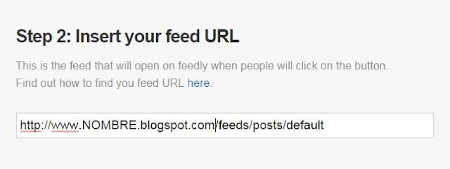 Aquí tendrás que teclear la dirección del feed de tu blog