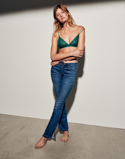 Madewell Lace Liana Triangle Bralette and Cali Demi-Boot Jeans: Split-Hem Edition