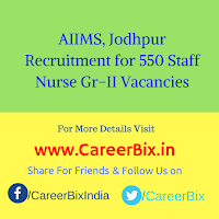 AIIMS, Jodhpur Recruitment for 550 Staff Nurse Gr-II Vacancies