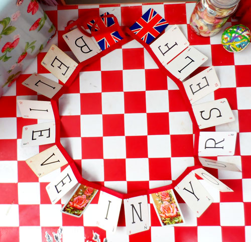playing card bunting